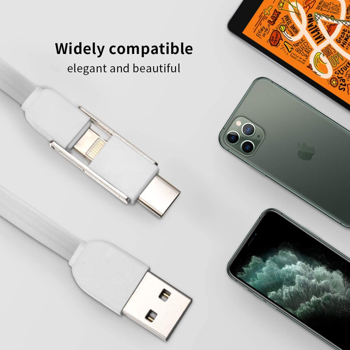 Lightweight and Portable USB Two-in-One Data Cable BANGBIG Funny Pug Life Round Two-in-One Data Cable