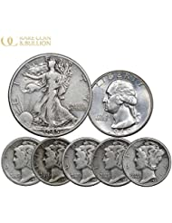 1916-1964 U.S. Silver Coin Set, (5) Mercury Dime, (1) Washington 25c & (1) Walking Liberty 50C, 7 Coins