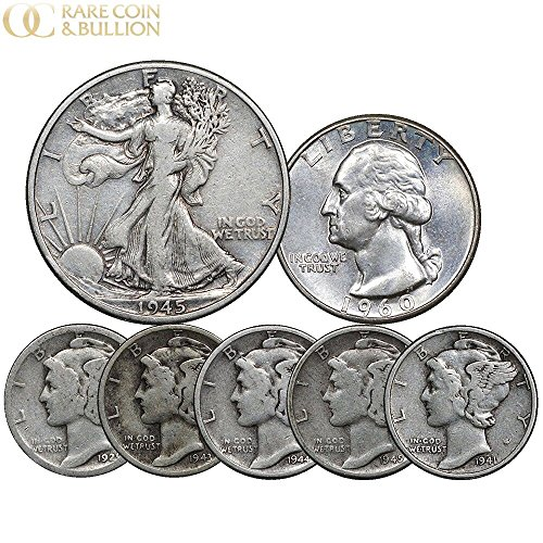 Us Dime 1964 (1916-1964 U.S. Silver Coin Set, (5) Mercury Dime, (1) Washington 25c & (1) Walking Liberty 50C, 7 Coins)