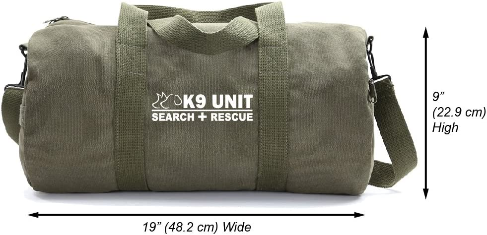 Medium K9 Search /& Rescue Army Sport Heavyweight Duffel Bag on Olive /& White