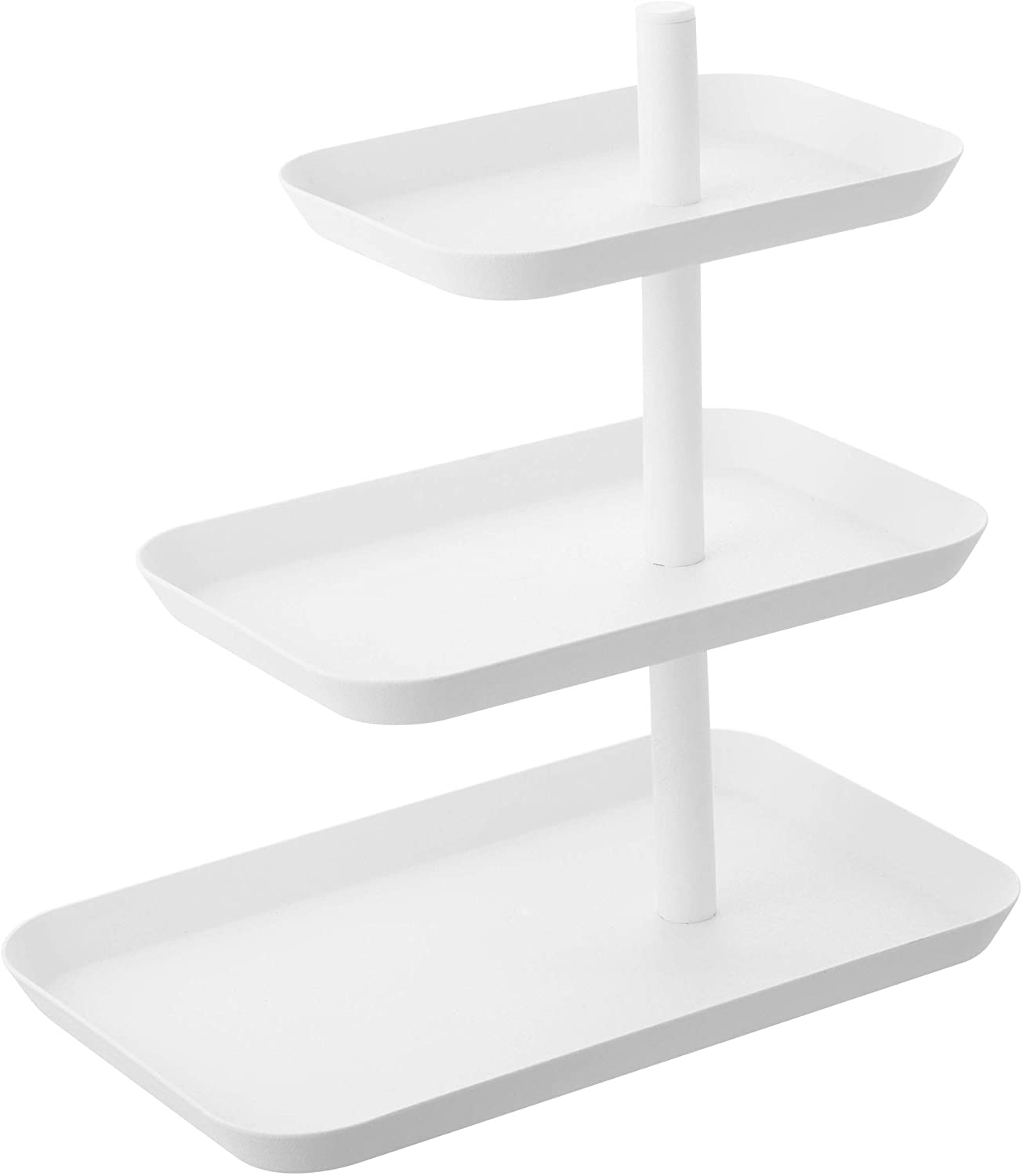 Yamazaki Home 3-Tier Serving Stand-Appetizer Tray Organizer for Party Or Kitchen, One Size, White