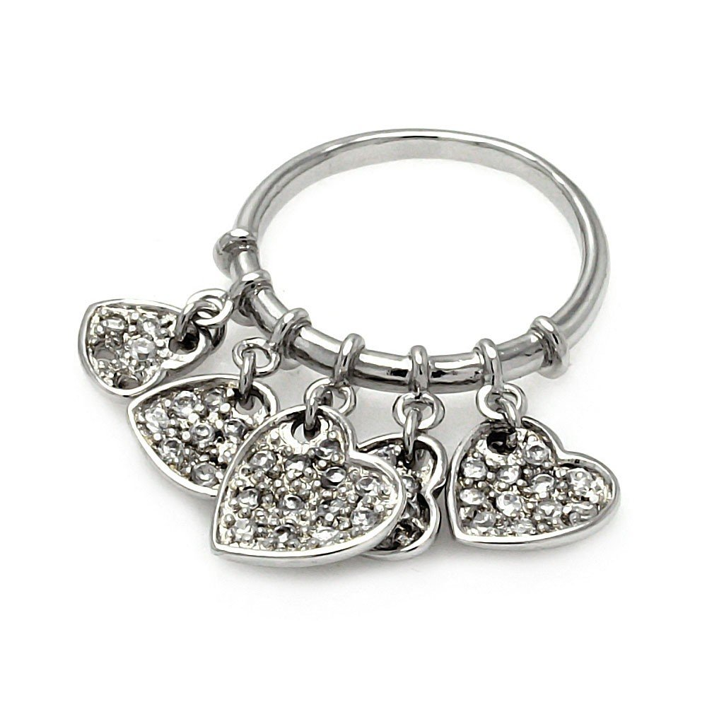 Clear Cubic Zirconia Multi Dangling Heart Ring Rhodium Plated Sterling Silver