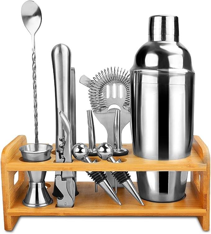 Barman Kit-Shaker Set 10 pc Bar Tool Set avec élégant bambou support et