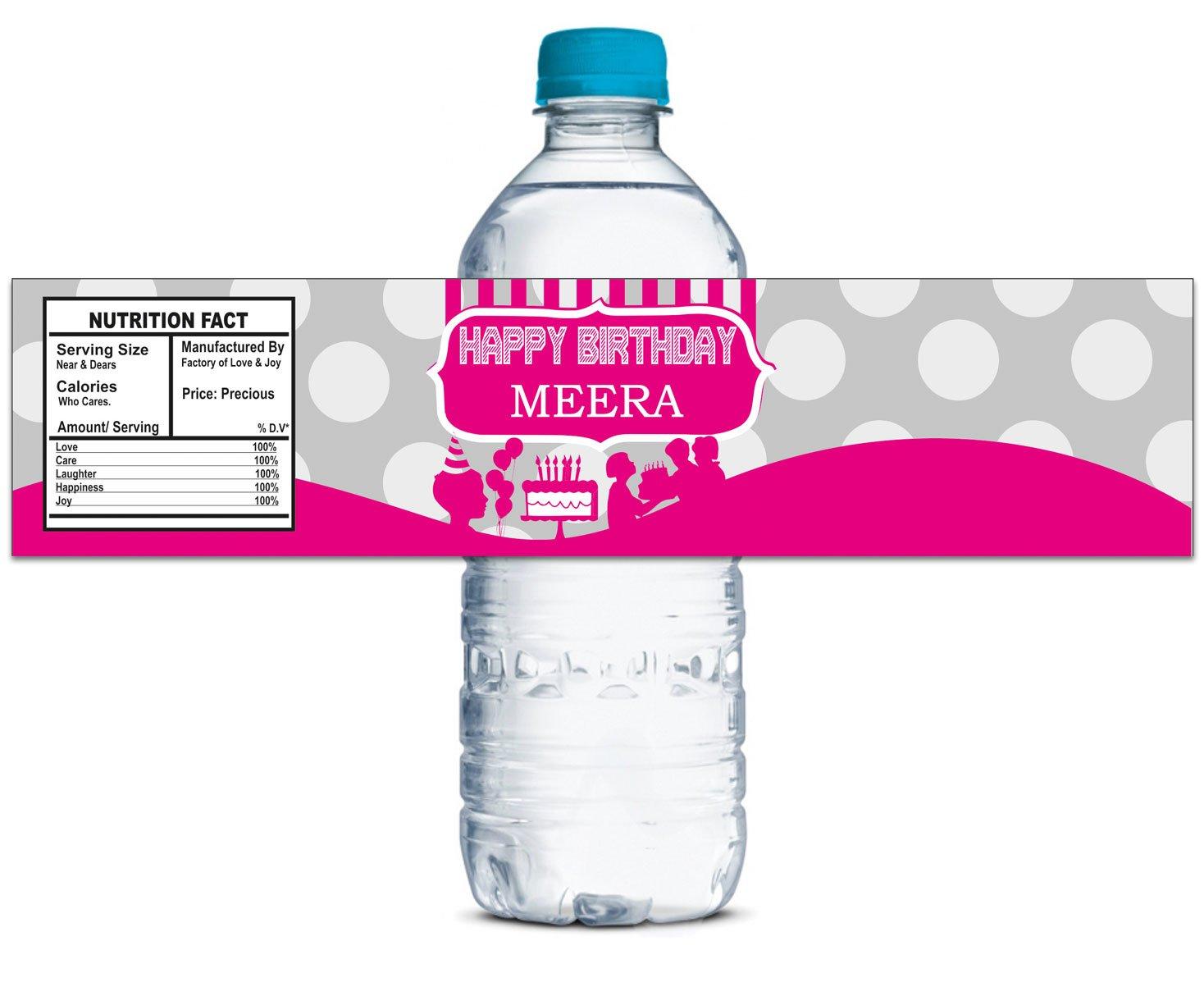 Etiquetas de la botella a prueba Chicas de agua Chicas prueba personalizados Fiesta de cumpleaños Etiqueta auto-adhesivo de la etiqueta 8