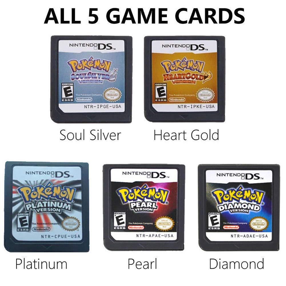 5Pcs Pokemon Heart Gold+Soul Silver+Platinum + Pearl + Diamond Version Game Card for NDS 3DS DSI DS