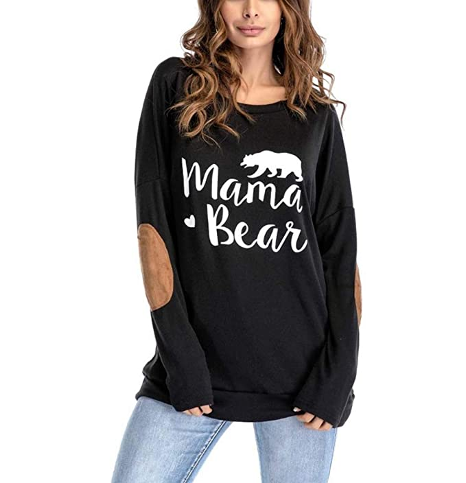 Manga larga de las mujeres Mama Bear Letters impreso remiendo del codo  camiseta jerseys ocasionales Blusa Tops  Amazon.es  Ropa y accesorios 3a6b9184757c
