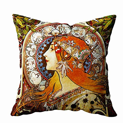 - Shorping Zippered Pillow Covers Pillowcases 18X18 Inch alphonse mucha la plume zodiac art nouveau vintage Decorative Throw Pillow Cover ,Pillow Cases Cushion Cover for Home Sofa Bedding