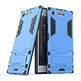 Xperia XZ1 ケース TopACE au SOV36 / docomo SO-01K 保護フレーム アイアンマン見た目 二重構造 スタンド機能付き 高品質 超薄型 超耐磨 最軽量 [ 落下 衝撃 吸収 ]スマートフォンケース エクスペリア XZ1対応 (ブルー)