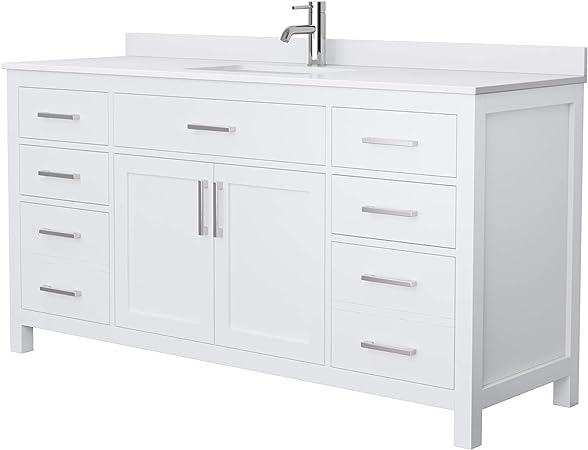 Beckett 66 Inch Single Bathroom Vanity In White White Cultured Marble Countertop Undermount Square Sink No Mirror Amazon Com
