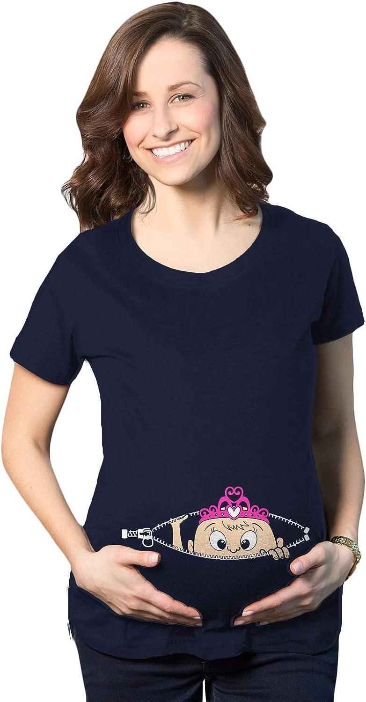 Maternity Peeking Princess Tshirt Cute Pregnancy Tee for Mom to Be