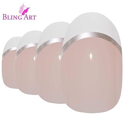 Uñas Postizas Bling Art Blanco Plata Glossy Ovale 24 Medio Falsas puntas acrílicas con pegamento