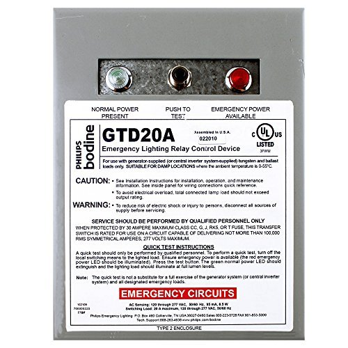 Philips Bodine GTD20A Lighting Relay Control Transfer/Bypass Device ()