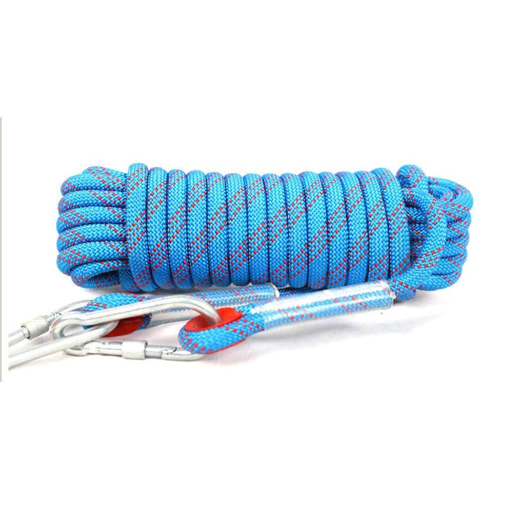 Bleu AMENZ Corde de sécurité extérieure Corde d'évacuation des ménages Corde de Travail aérien Corde d'escalade résistante à l'usure 16mm 10m