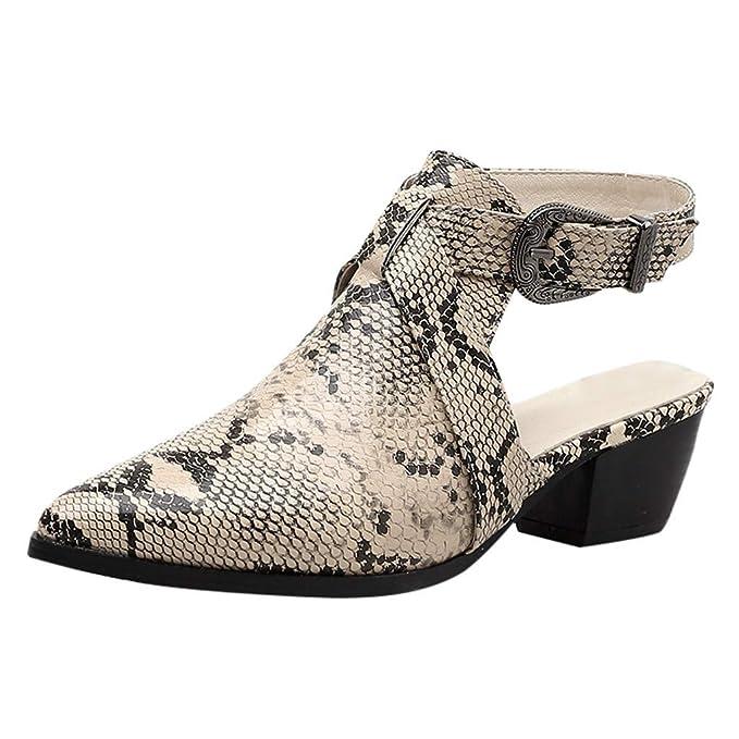 aa5f88ea76d95 DENER❤ Women Ladies Dress Sandals, Leather Snakeskin Pointed Toe ...