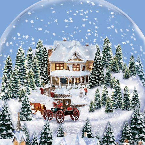 Thomas Kinkade Victorian Village Illuminated Musical Snow