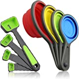 Collapsible Measuring Cups and Spoons, Portable 8 Piece Measuring Tool Set with Engraved Metric/US Markings for Liquid & Dry Measuring, Space Saving, FDA Approved & BPA Free Silicone, Colorful