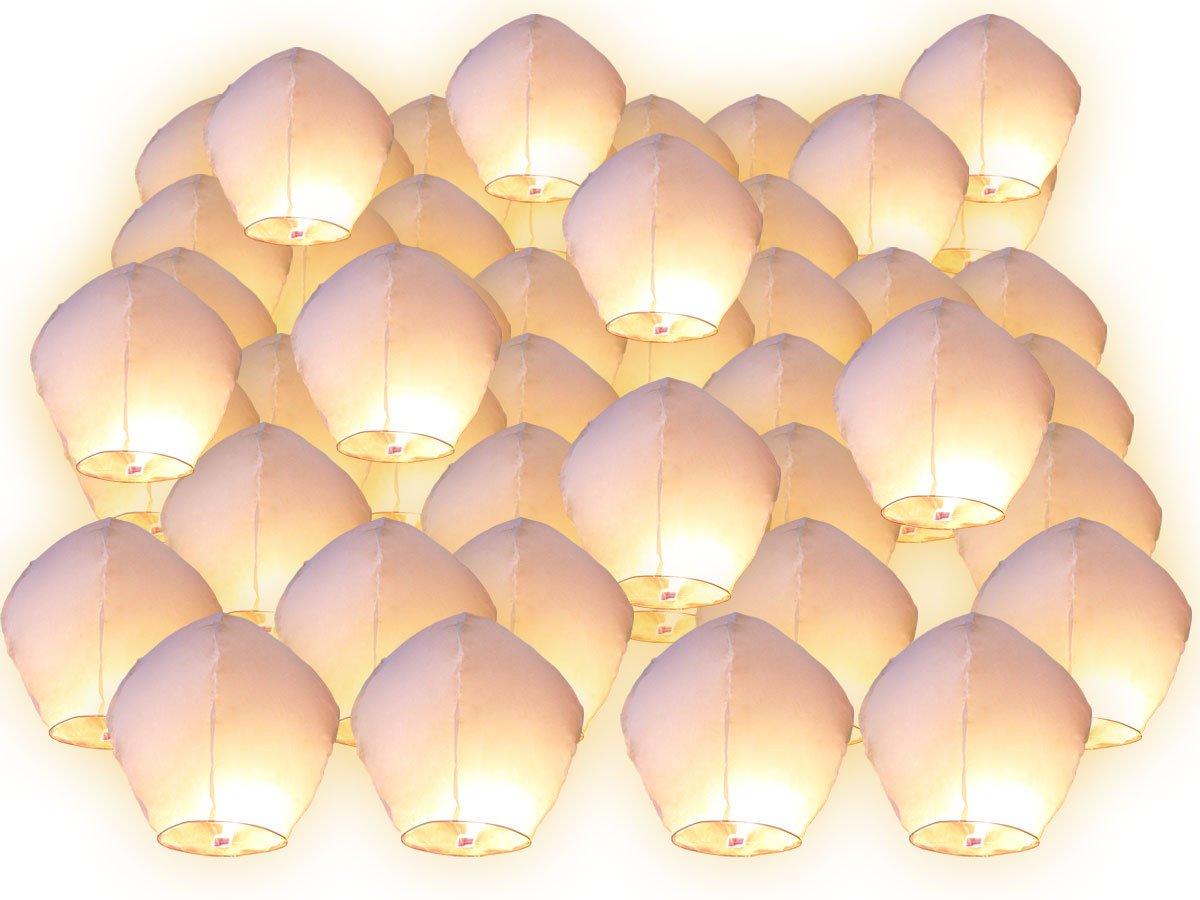 Lanterne Volanti sorpresa festa matrimonio celeste cinese anniversario straordinario, couleur blanc, Lotto di 30 FUNLAVIE