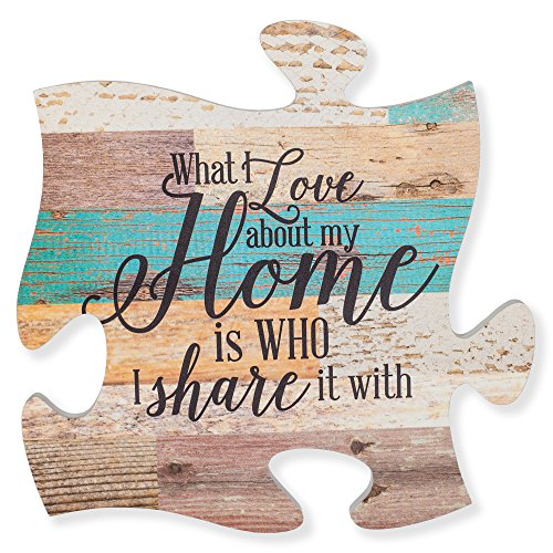 I Love About Home is Who I Share it with Multicolor 12 x 12 Wood Wall Art Puzzle Piece ()