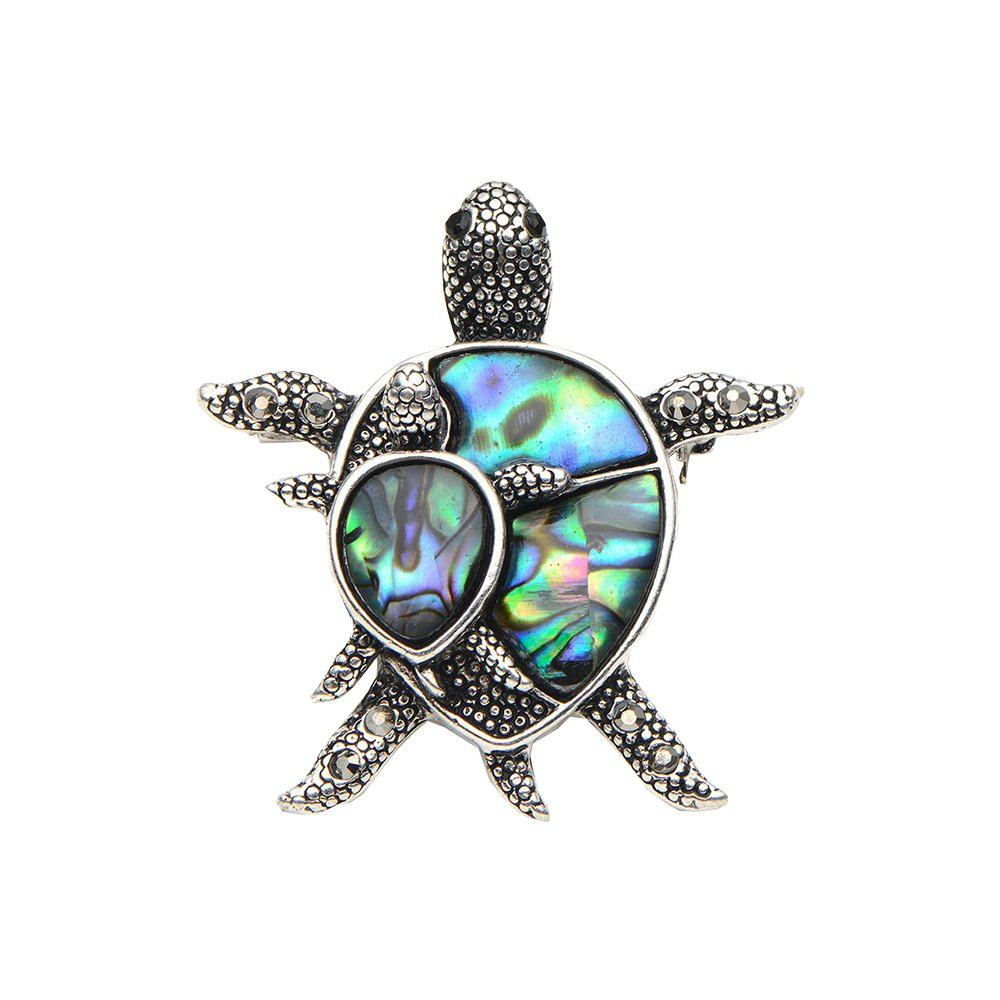 Natural Shell Turtle Brooches For Women And Men Alloy Couple Turtle Animal Brooch