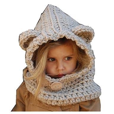 Freessom Bonnet Echarpe Cape Hiver Cagoule Ours Unisexe Bebe Enfant Garcon  Fille Mignon Kawaii Chaud Tricote Laine Chapeau Bobs Protection d oreilles  ... 34a931a9366
