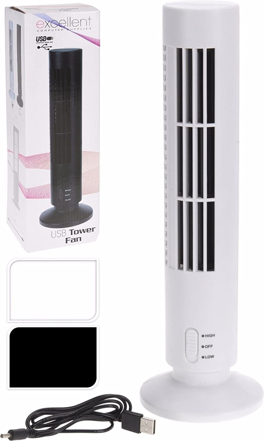 Mini USB Home Office Desk Cooling Tower Fan (White) Koopman International