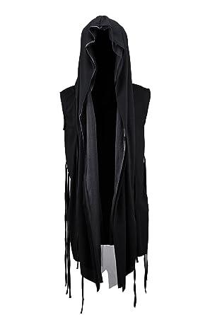 f97b6de902c9e1 ByTheR Men s Mesh Layerd String Detail Dark Gothic Sleeveless Hooded  Cardigan Black
