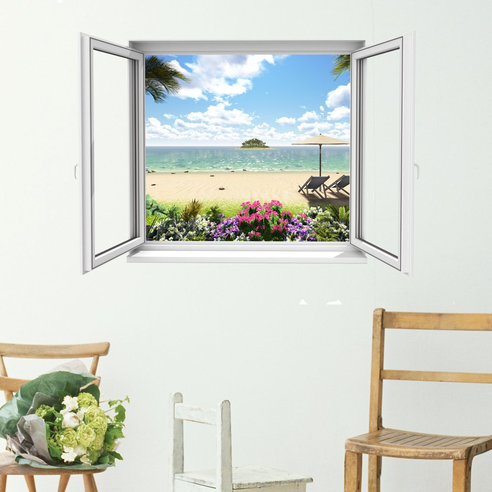 Open window beach - The Little Unique Boutique Open Window Beach Scene 2 3d Wall Art Decal Vinyl Mural Add A Stunning View Through A New Window In Your Home Amazon Co Uk