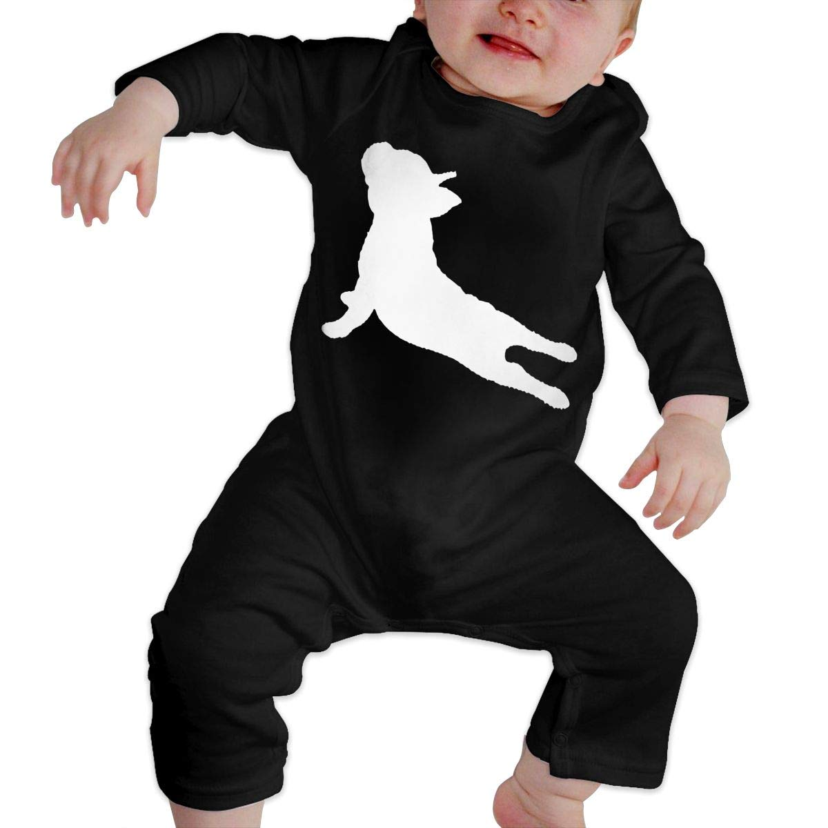 A1BY-5US Infant Baby Boys Girls Cotton Long Sleeve French Bulldog Yoga Jumpsuit Romper Funny Printed Romper Clothes