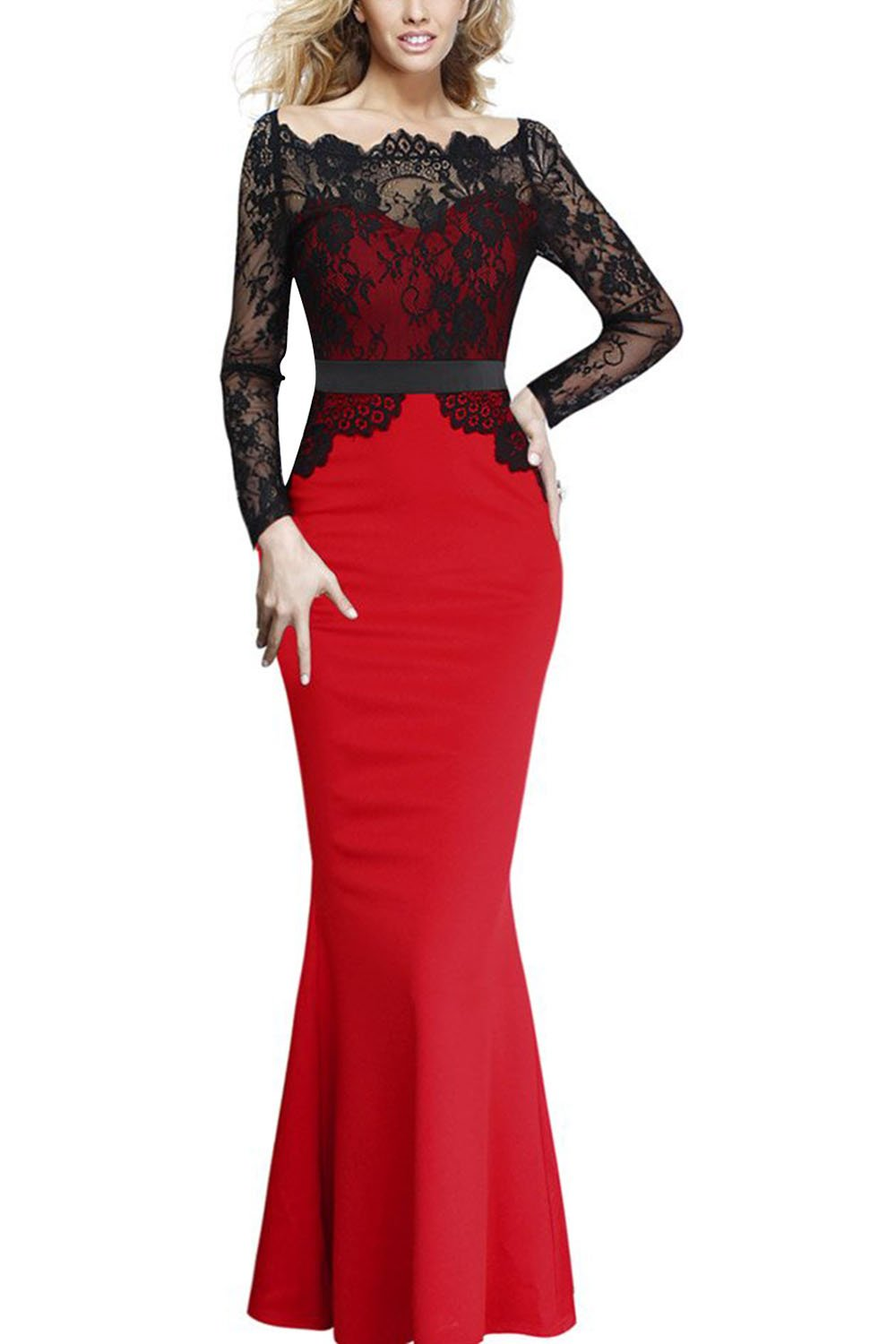 Viwenni Women Lace Maxi Cocktail Party Evening Fromal Gown Dress, Red, Small