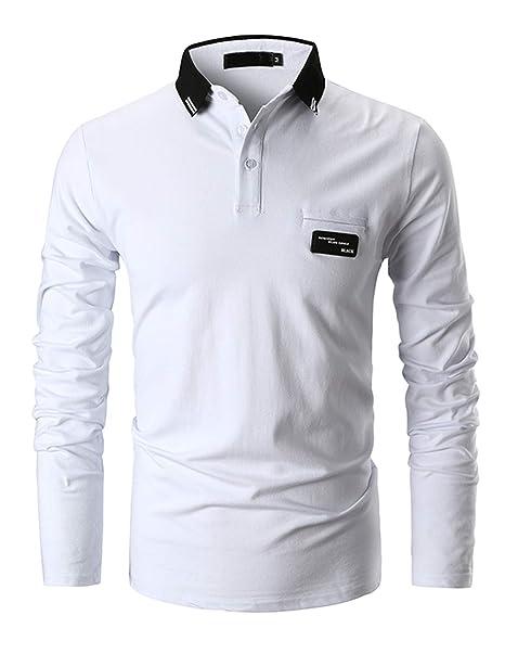 uk availability 50ce6 23391 GHYUGR Polo Uomo Filettata Maglie Manica Lunga Colore a Contrasto Basic  Poloshirt Cotone Camicie Tennis T-Shirts Tops