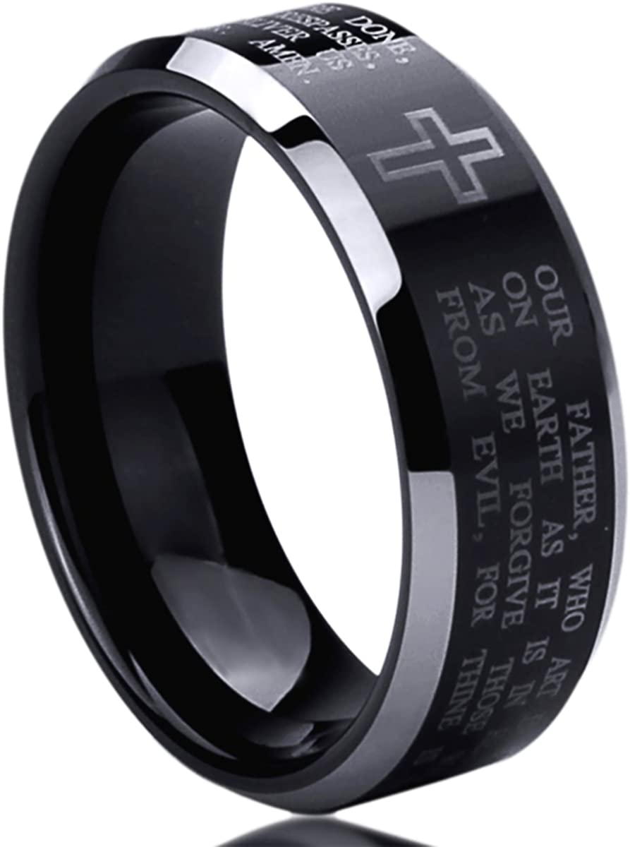 Titanium Wedding Band Ring for Men & Women Lord's Prayer with Cross Praying Ring for Men & Woman