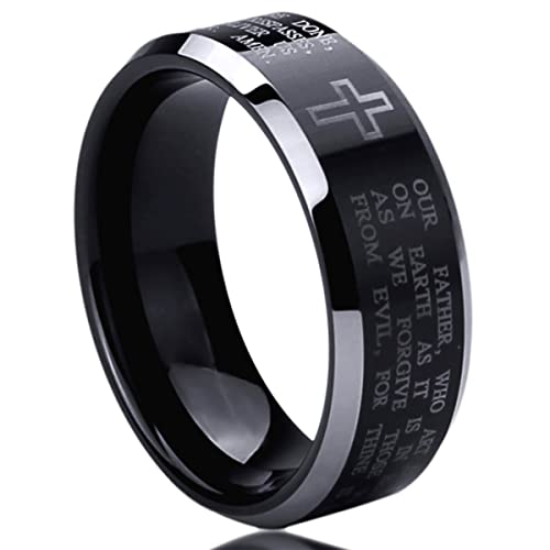 8MM Titanium Mens Womens Rings Lords Prayer with Cross Praying