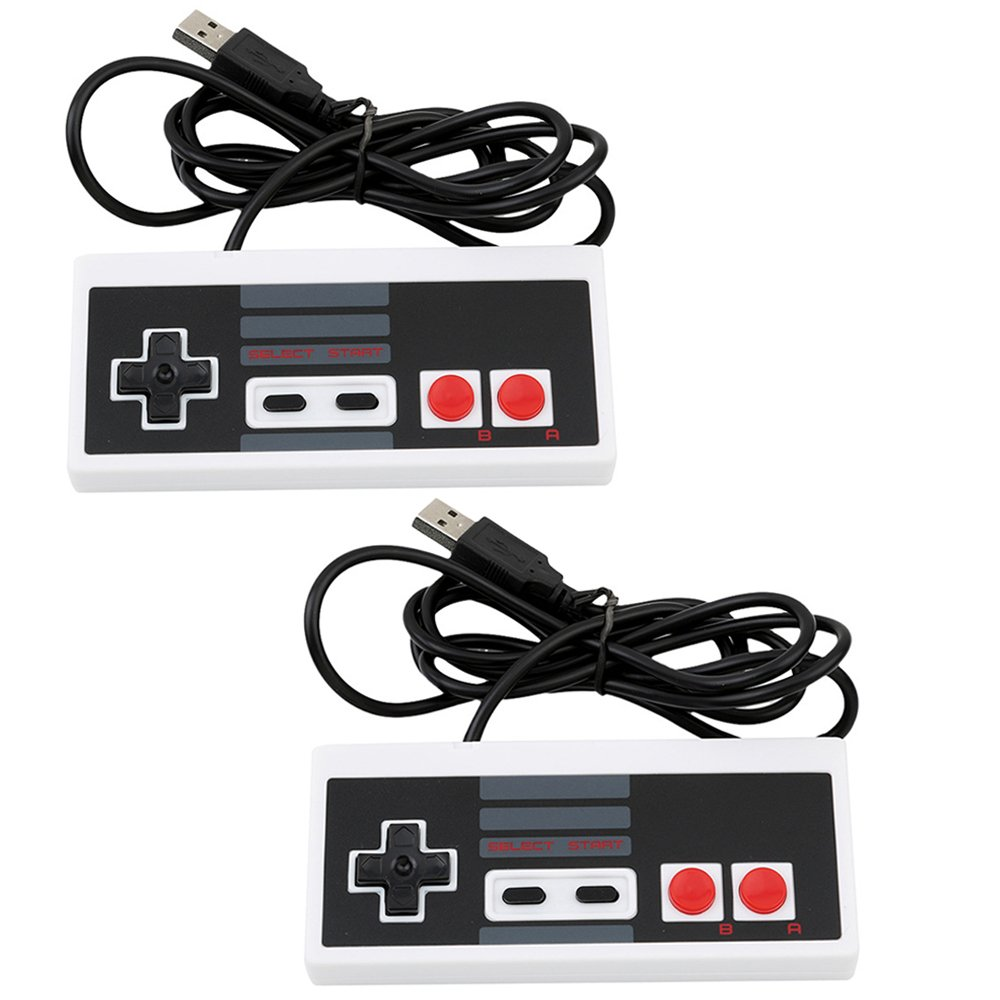 2 Pack Classic USB NES Game Controllers HXYD Retro USB FC Gamepad (Type A -Grey)