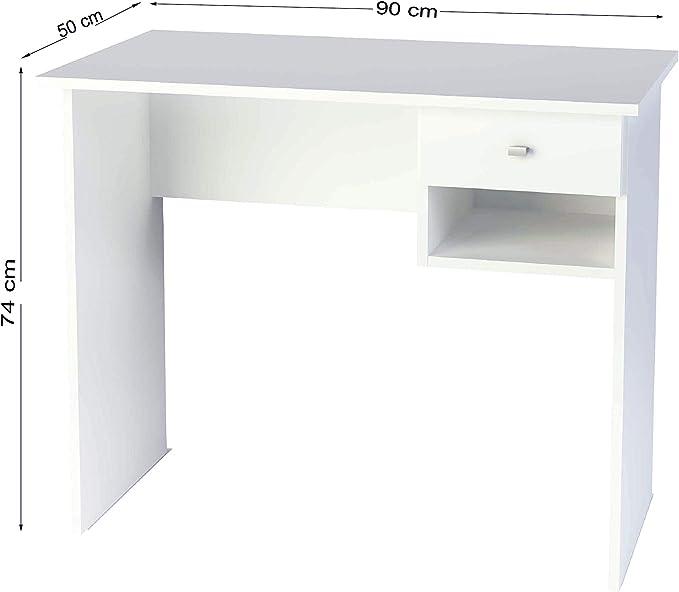 Samblo Bureau Blanc Avec Tiroir Et Espace Fabrique En Melamine 90 Cm De Largeur Amazon Fr Cuisine Maison