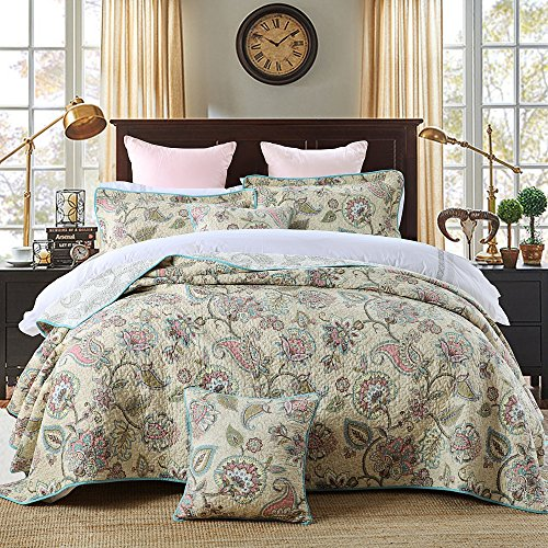 Best Bed Set 3 Pieces Cotton Paisley Flowers Printed Bedspread Quilt Sets - Oversized Flowers