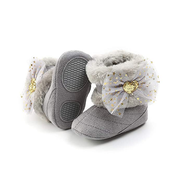 Alamana Fashion Flower Infant Baby Girls Soft Anti-Slip Boots Prewalker Toddler Shoes Brown 11cm