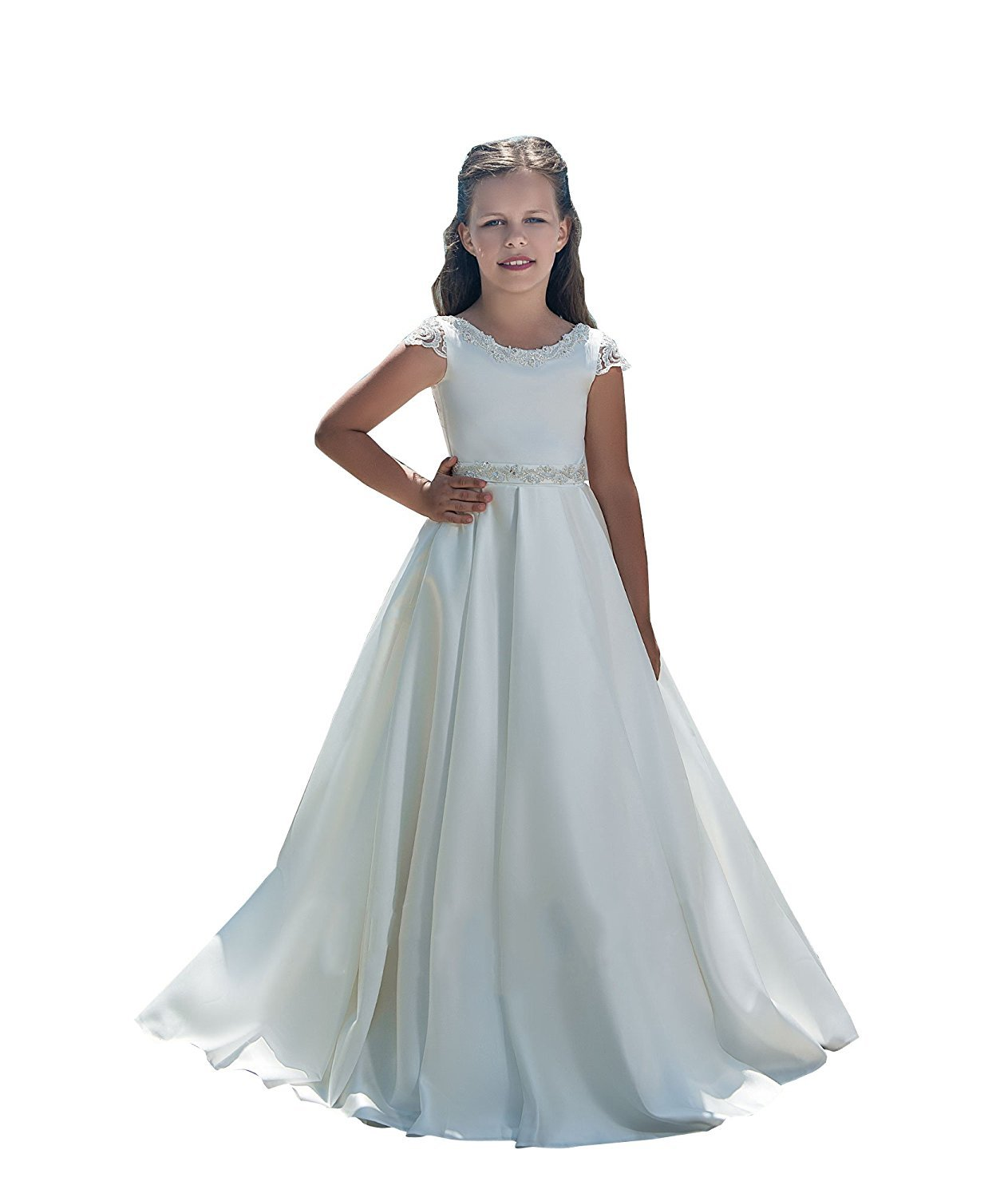 Banfvting Long Flower Girl Dresses With Bow Sashes Lace