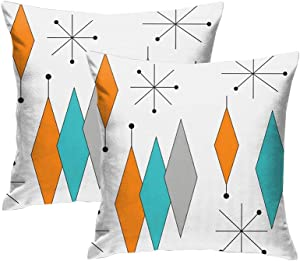 DZGlobal Turquoise Orange Diamond Pillow Covers Set of 2 Mid Century Throw Pillow Covers Retro Starburst Cushion Cover Modern Decorative Pillowcases for Sofa Bed Couch Chair 18 x 18