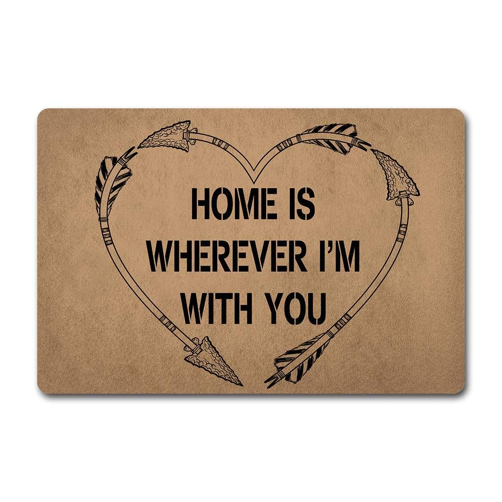 ZQH Decorative Bathroom Door Mats Home is Wherever Im with You Arrow Heart Love Machine Washable Personalized Floor Mat 23.6 X 15.7 in Non-Woven Fabric Top with a Anti-Slip Rubber Back.