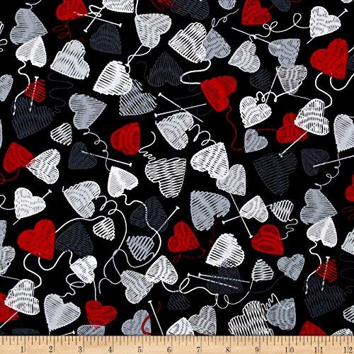 Ewe Knit - Kanvas Wool Ewe Be Mine Love Knit Black/Multi Fabric By The Yard