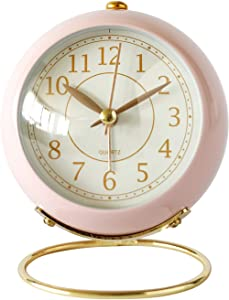SHISEDECO Small Table Clocks, Classic Non-Ticking Tabletop Alarm Clock with Backlight, Battery Operated Desk Astronaut Clock with HD Glass for Living Room Bedroom Bedside Indoor Decor (Pink)