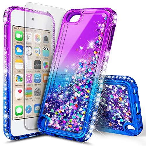 iPod Touch 7/6/5 Case, iPod Touch 7th/6th/5th Generation with Tempered Glass Screen Protector for Girls Kids Women, NageBee Glitter Sparkle Liquid Floating Waterfall Durable Cute Case -Purple/Blue