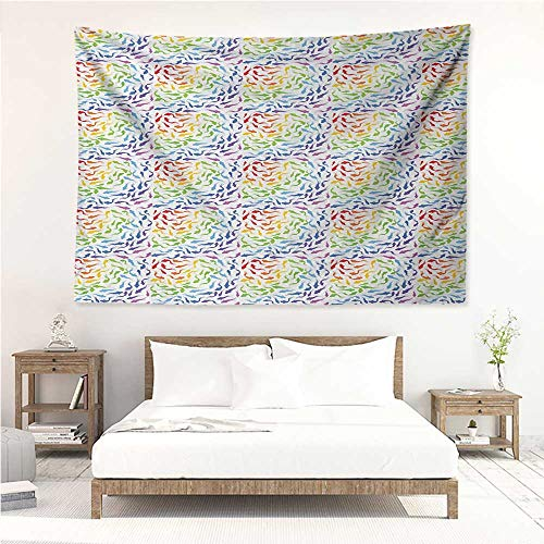 Fish,Wall Decor Tapestry Colorful Aquatic Creatures Rainbow Palette Animal Silhouettes Underwater Fauna Pattern 91W x 60L Inch Tapestry Wallpaper Home Decor Multicolor ()