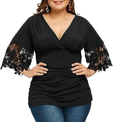 Amlaiworld Camiseta de Mujer Talla Grande con Cuello en v Camisa Sexy Mujer Media Manga Acanalada Imperio Cintura Camiseta Tops: Amazon.es: Ropa y accesorios