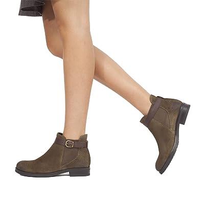 Moteros - Botines Tipo Chelsea con Adorno de Hebilla MARRÓN: Amazon.es: Zapatos y complementos