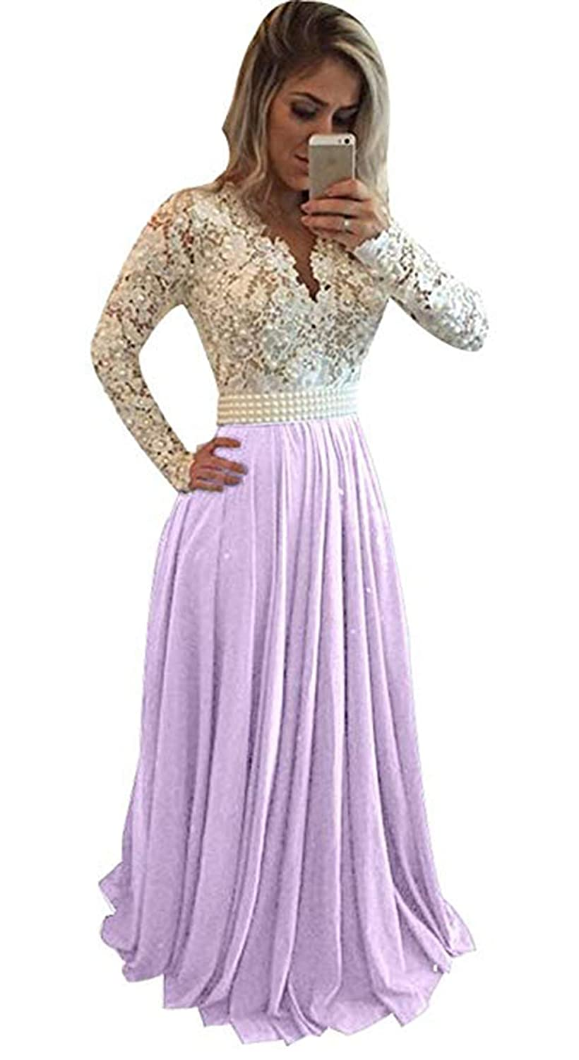 Apurplec Ri Yun Womens Prom Dresses Long Sleeve Lace 2018 Illusions Back Pearl VNeck Formal Evening Ball Gowns