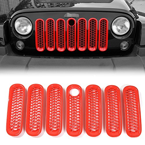 JeCar Front Grille Inserts Honeycomb Mesh Grille Inserts Kit with Key Hole Lock for 2007-2017 Jeep Wrangler JK Rubicon X JKU Sports Sahara 2/4 door(red)