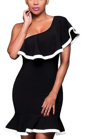 La Sirène Africaine Vogue Robe Hanche Noir Femme Epaule Cocktail 3R4ALc5jqS
