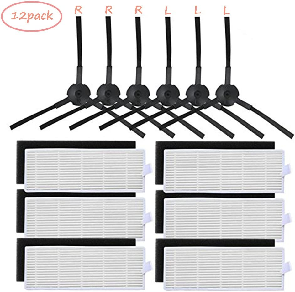 hothuimin Replacement Filter & Side Brush Kit for ILIFE A6 A4 A4s Robot Vacuum Cleaner#25-SDJTC
