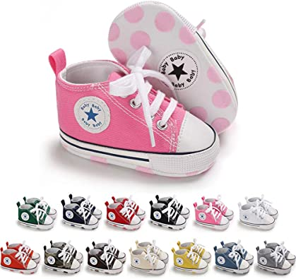 Meckior Infant Baby Boys Girls Canvas Sneakers High Top Lace up Crib Casual Shoes Newborn First Walkers Cribster Shoe